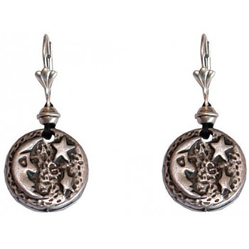 Boucles d'oreilles médaille Lune
