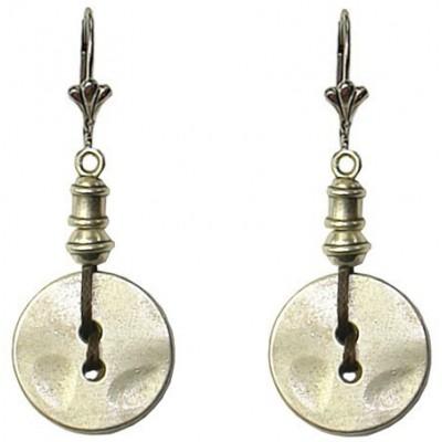 Boucles d'oreilles bouton en métal argenté