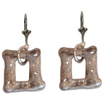 Boucles d'oreilles céramique grise forme rectangulaire