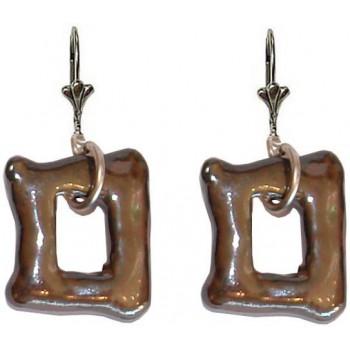 Boucles d'oreilles céramique marron forme rectangulaire