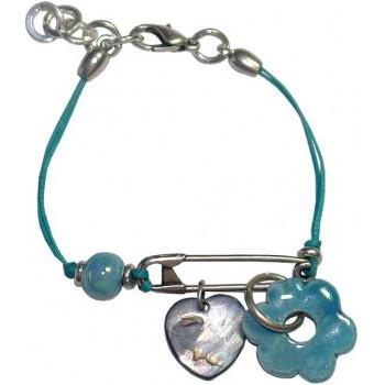 Bracelet en coton ciré bleu et céramique bleue