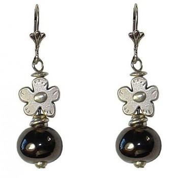 Boucles d'oreilles avec fleur en métal argenté et céramique noire métal