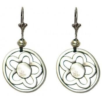Boucles d'oreilles cercle fleur en métal argenté