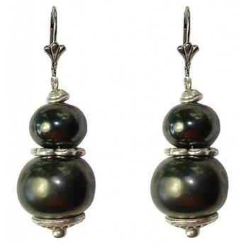 Boucles d'oreilles avec deux perles en céramique de 16 et 12 mm noire mat