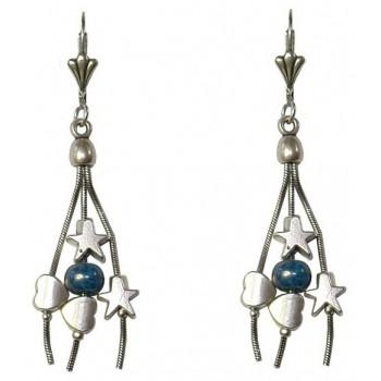 Boucles d'oreilles étoiles et coeurs en métal argent, perles céramique bleue