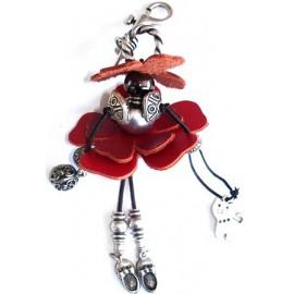 bijoux de sac cuir rouge - pampille chat bourse