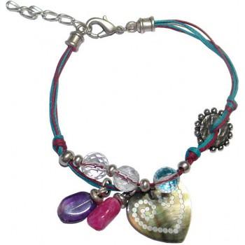 Bracelet en coton ciré et cristal et amethyste