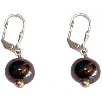 Boucles d'oreilles en cramique de 12mm noire métal