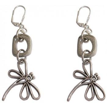 Boucles d'oreilles libellule en métal argenté et céramique