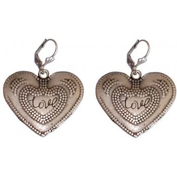 """Boucles d'oreilles coeur """"Love"""" en métal argenté"""
