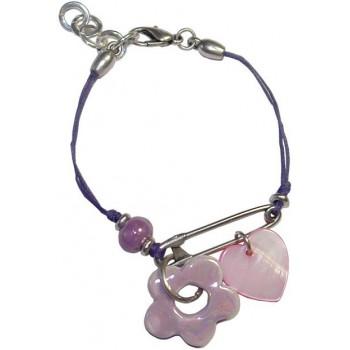 Bracelet en coton ciré violet et perles céramique rose
