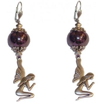Boucles d'oreilles céramique violette et fée en métal argenté