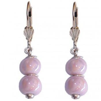 Boucles d'oreilles avec deux perles en céramique violette