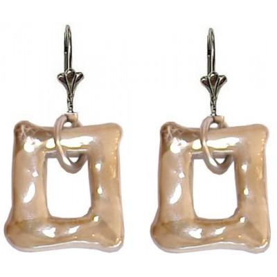 Boucles d'oreilles céramique crème forme rectangle