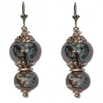 Boucles d'oreilles avec deux perles en céramique de 16 et 12 mm bleue/grise