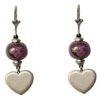 Boucles d'oreilles avec perle céramique violine et coeur en métal argenté