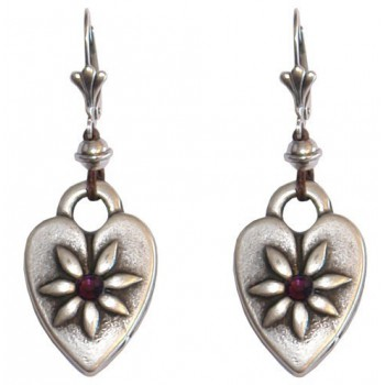 Boucles d'oreilles coeur en métal argenté